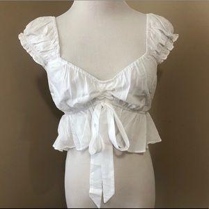 Ruffle shoulder tie crop top